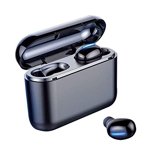 QCHEA Auriculares Bluetooth 5.0 Deep Bass, Auriculares inalámbricos estéreo IPX7 Impermeable con 3500mAh Carga de la Caja, for el Deporte, Oficina, Viajes