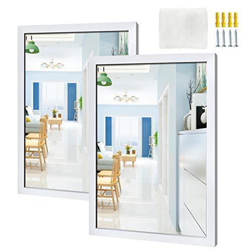 Amazon Brand - Eono Espejo Rectangular de Pared, Espejo 45,7x61 cm con Marco Blanco para Baño, Salon, Dormitorio, Juego de 2