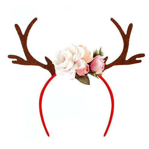 OULII Divertida cinta para el pelo con cornamenta, diseo de ciervo con flores, accesorio para disfraz de Navidad