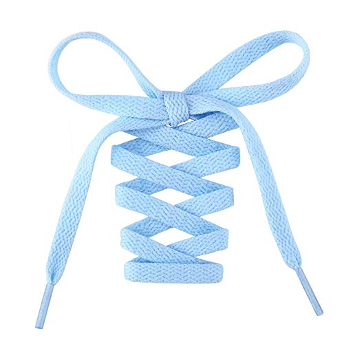 Handshop Flat Shoelaces 5/16' - Shoe Laces Replacements For Sneakers and Athletic Shoes Baby Blue 48 inch (122cm)