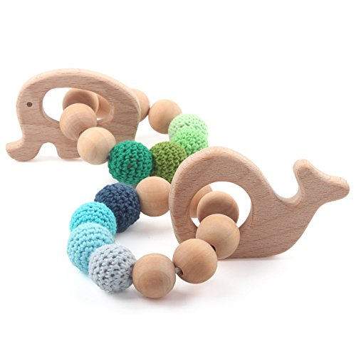 Teethers Baby Organic Toys Wooden Teething Bracelet Elephant Whale Shaped Chewable Montessori Toy Shower Gift