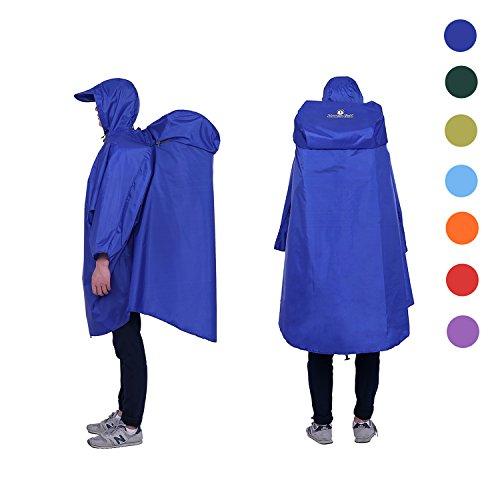 Adventure World Globotrekker Lightweight Backpack Poncho (Multiple Color Options Available) (Sapphire Blue)