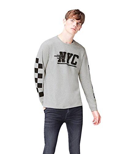 Marca Amazon - find. Camiseta NYC para Hombre, Gris (Grey Marl 002), M, Label: M