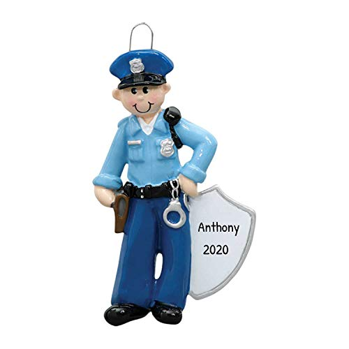Personalized Policeman Christmas Tree Ornament 2020 - Police Officer Blue Uniform Hat Badge Gun Handcuffs Tickets Coworker Cop New Job Agent Academy Detective Profession - Free Customization (Male)