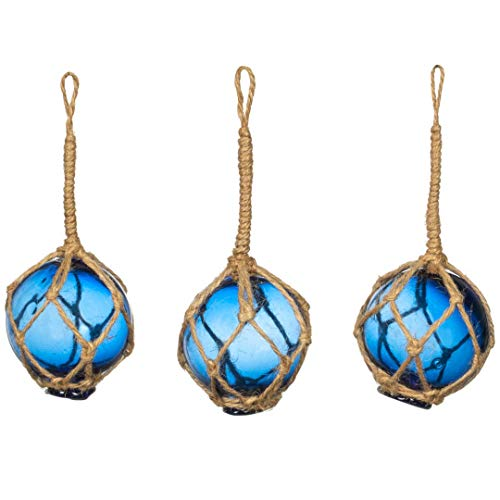 Nautical Crush Trading Cobalt Glass Float Balls | (Set Of 3) Fishing Buoy Balls 2 | Perfect For Beach Weddings Or As Christmas Ornaments
