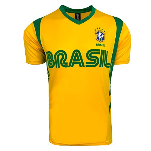Rhinox Brazil Soccer Yellow Wordmark Jersey Style Performance T-Shirt Large