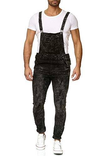 EGOMAXX Herren Latzjeans Hose Slim Fit Latzhose Destroyed Used H2626, Farben:Schwarz, Größe Jeans:W30