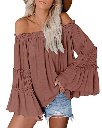 Womens Off The Shoulder Long Bell Sleeve Tops Flared Casual Loose Blouse (Z Brick red, X-Large)