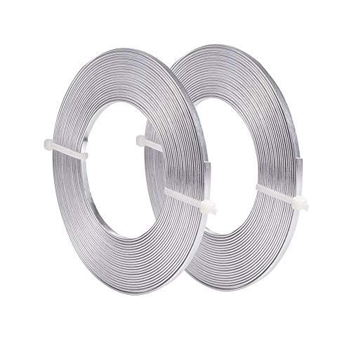 BENECREAT 10m Alambre Plano de Aluminio 3mm de Ancho Alambre Plateado de Bisutería Accesorios Metálicos para Manualidad de Artesanía 5m / Rollo