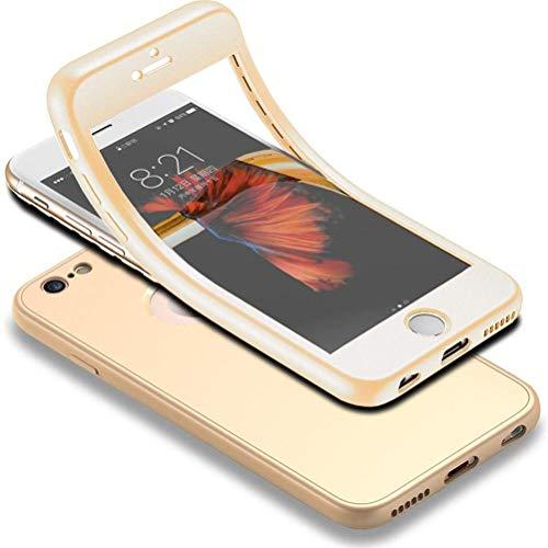 HICASER iPhone 6s 360 Gradi Custodia + Pellicola Vetro Temperato Full Body Ultra Sottile Morbido TPU Antiscivolo Protettiva Case per iPhone 6 / iPhone 6s 4.7' Oro