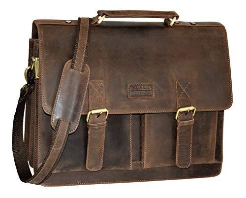 Menzo Aktentasche aus echten Leder, Laptoptasche bis zu 15 Zoll, Vintage Umhängetasche, Messenger Bag für Damen und Herren, Ideal für Schule, Uni oder Arbeit (dunkel braun)