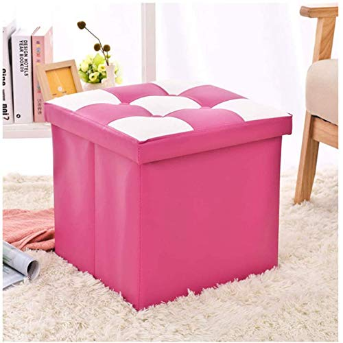 GCE Footstool Footstool Footstools Space Saving Padded Cube Footstool Foldable Footstool Storage Stool Toy Storage Box Rest Foot in Living Room Bedroom Pink