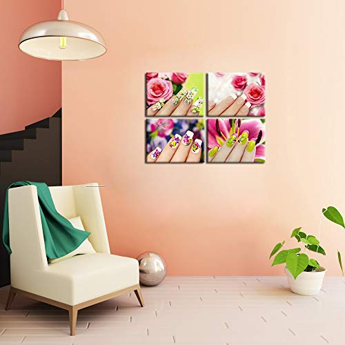 iKNOW FOTO Modern Fashion Women Art Print Set of 4 Beautyand Nail Painting Canvas Prints Posters with Frame Hand Spa Makeup and Manicure Picture Wall Pictures for Beauty Salon Walls Decor 12x16inchx4