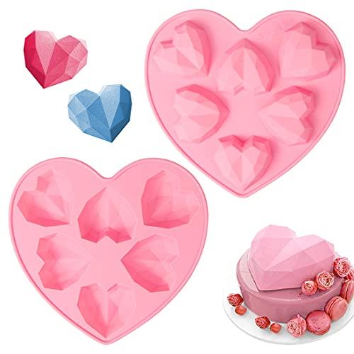 2 piezas 3D Diamante Corazón Forma Silicona Molde,6-Diamante Heart Forma Moldes de Postre Silicona para Hornear,para DIY Pasteles,Caseros Dulces,Chocolate(Rosa)