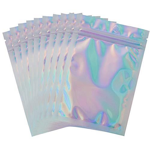 50 Stück holografische Folien-Beutel, flach, wiederverschließbar, geruchsdicht, Aluminiumfolie, Regenbogen-Mylar-Tüten für Lipgloss, Bad, Salz, Lebensmittelaufbewahrung (10,2 x 15,2 cm)