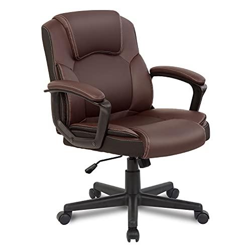 Ptoulemy Ergonomischer Bürostuhl mit Armlehnen, 360° drehbar, mit Rollen, Computer-Chefsessel, Schreibtischstuhl, mittlere Rückenunterstützung (braun)