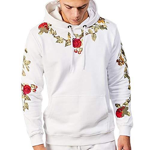 OwarmQ Herren Kapuzenpullover Rose Stickerei Gedruckt Hoodie Streetwear Pullover Freizeit Langarm Digitaldruck Sweatshirts mit Taschen,Weiß,XXL