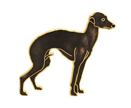 behave Damen brosche Windhund - Hunde Pin aus Emaille - Dunkelbraun - 4cm Größe