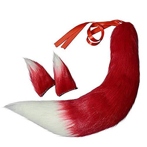 XCBW Halloween Faux Plüsch Fuchs Katzenschwanz und Ohren Sets, Fluffy Tail Halloween Kostüm Dress Up, Cosplay Kits Zubehör,5#