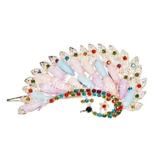 Jolie pince en métal motif paon strass modèle &acrylique, des pinces, multicolore/rose/lilas/bleu, 5267