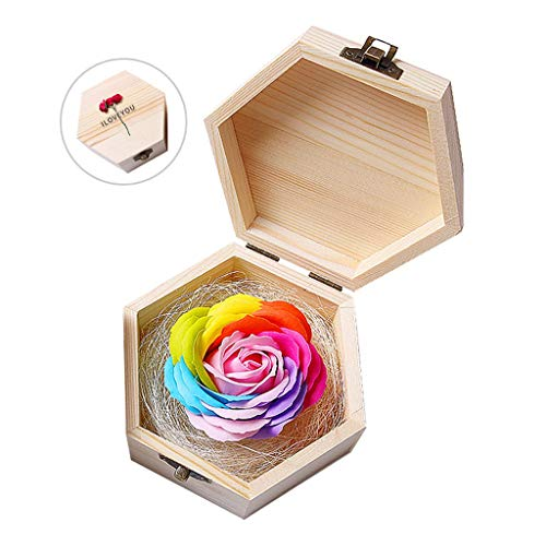 Künstliche Blume Nie Verwelkten Bunte Rosen konservierte Blumen künstliche Blume Unsterbliche Blumen und Holzkiste Einzigartiges romantisches Geschenk for Valentinstag, Jahrestag, Geburtstag und Mutte