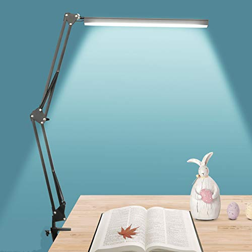 NovoLido - 10W Lampada da Scrivania a Led, 3 Modalità Colore e Regolazione Continua, Lampada da tavolo per Architetto con Braccio Oscillante in Metallo, Funzione di Cura Degli Occhi e Memoria (Nero)