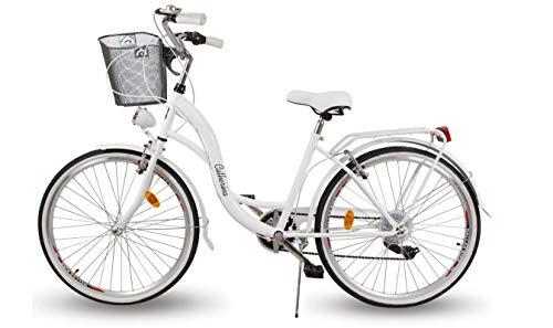 BDW Alice Comfort - Bicicleta holandesa para mujer (6 marchas, 28 pulgadas, con soporte trasero, con clic), color blanco