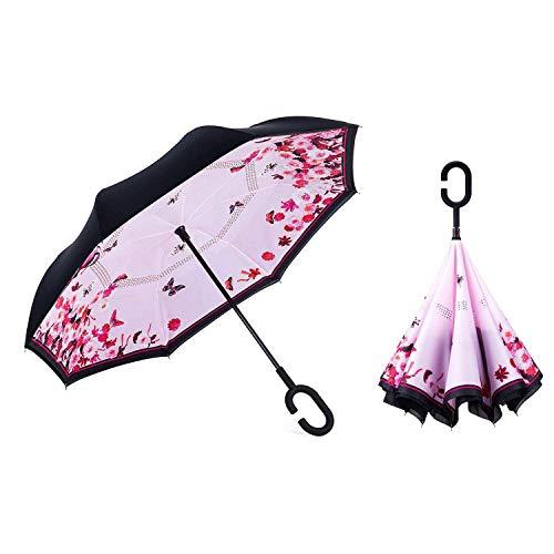 Sumeber Double Layer Reverse Regenschirm mit C Griff Schützen vor Sturm Wind Regen und UV-Strahlung Innovativer Regenschirm (First Love) …