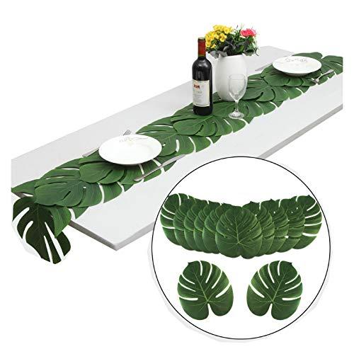 MONODY - Camino de Mesa con Hojas Verdes y Flores de imitación (35 x 29 cm, para Bodas, cumpleaños, Fiestas, decoración de 12 Piezas)