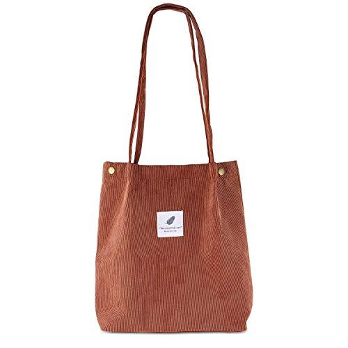 EKKONG Cord Umhängetasche Damen, Cord-Tasche, Ultraleichte Damen-Umhängetasche mit Großer Tasche, Lässige Handtasche, Stilvoller Schulrucksack für Den Alltag, Büro, Schulausflug und Shopping (braun)