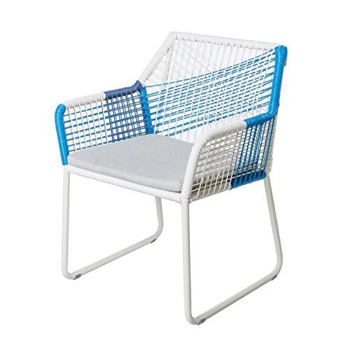 Braga, tuinstoel van aluminium en rotan, touw, wit en blauw, L 60 x B 61 x H 78,50