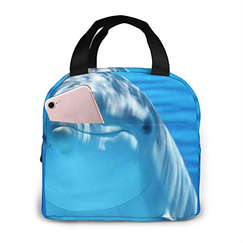 Hdadwy Dolphin With A Smile Bolsa de almuerzo Bolsa de asas Caja de almuerzo Recipiente de almuerzo aislado para mujer Hombre