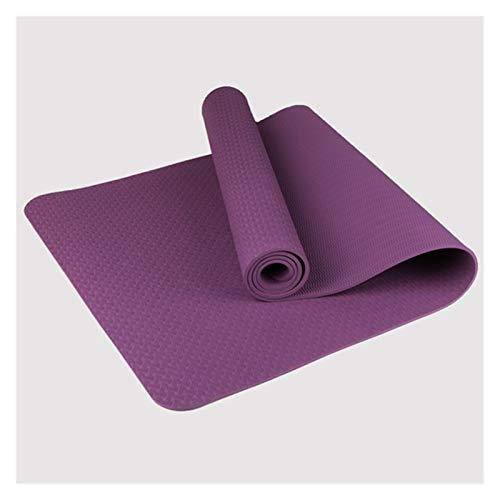 MeiZi 1830 * 610 * 6mm Yoga Matte TPE rutschfeste Gymnastik Matte Pilates Workout MAT Fit Fit für Yoga Fitness-Gymnastik Haus mit Streifenbeutel (Color : Purple)