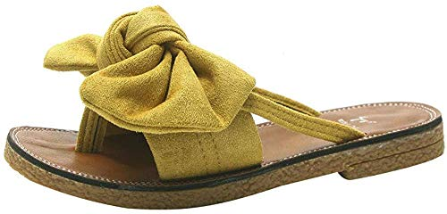 FORUU Women Fashion Solid Color Bow tie Flat Heel Sandals Slipper Beach Shoes (39, Yellow)