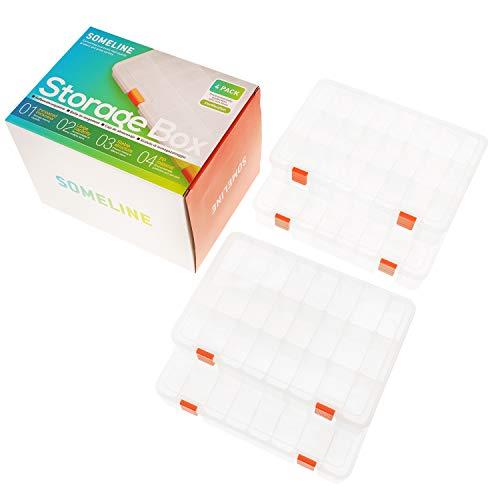 SOMELINE Kunststoff Aufbewahrungsbox Schmuckkasten für Schmuck Perlen Ohrring Zubehötritver Einstellbar Sortimentskasten mit 24 Gitter Klar Plastik Sortierboxen 4 Stück