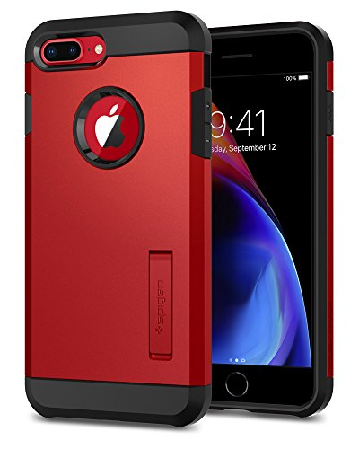 Spigen Funda Tough Armor Compatible con Apple iPhone 7 Plus/8 Plus, Doble Capa y Protección Extrema contra caídas - Rojo