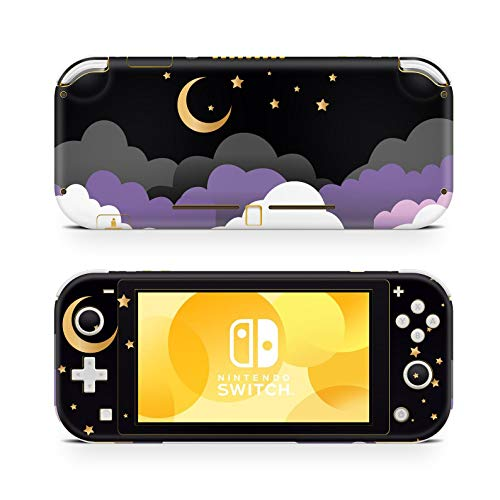 ZOOMHITSKINS Switch Lite Skin Decal Stickers, Moon Black Cloud Golden Sky Star Purple Lavander Fluffy Light Color Gloss Luna, High Quality, Durable, Bubble-free, Goo-free, 1 Console Skin, Made in USA