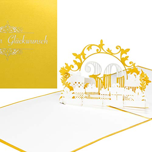 Pop-Up Card'30' in Gold & White - for 30th Birthday, Anniversary & Anniversary as 3D Birthday Card, Gift & Voucher for Pearl Wedding