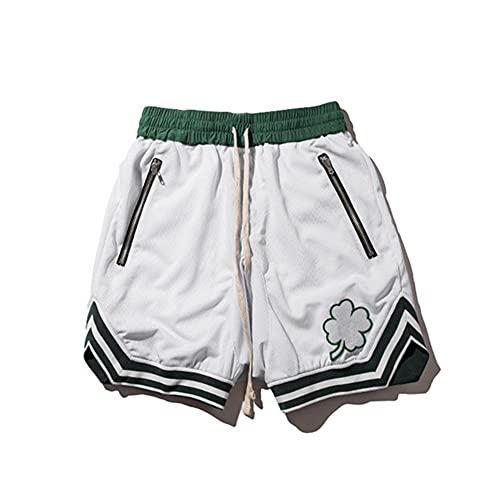 UKKD Herrenshort - Pantalones cortos para hombre, culturismo, secado rápido, pantalones cortos deportivos hasta la rodilla, pantalones deportivos de verano para hombre y gimnasios, color blanco, talla Xxxl