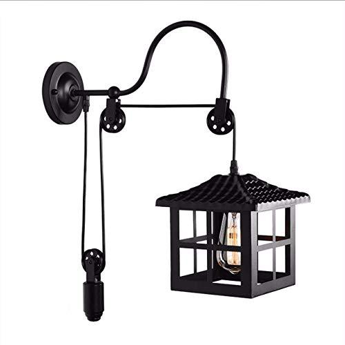 Plafondlamp Lamp van de muur, met Katrol Rope Light Cube Lampekap, verstelbare metalen wandlampen, Slaapkamer Woonkamer Simple Decoration Wandlamp