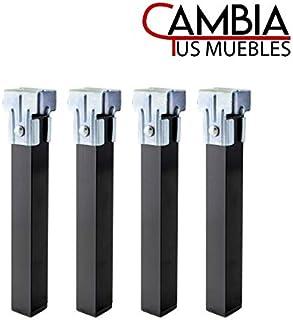 CAMBIA TUS MUEBLES - Pack 4 Patas cuadradas de Somier, Altura 25 x 3 cm Metal