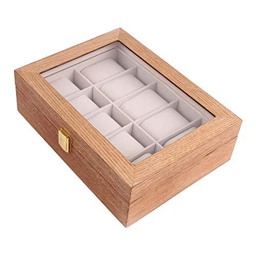 Bonarty Uhrenkoffer für 10 Uhren, Holz Uhrenbox Uhrenkasten Uhrenvitrine Uhrentruhe Uhrenschatulle Schmuckkästchen mit Glasfenster und Samt Futter - Hellbraun