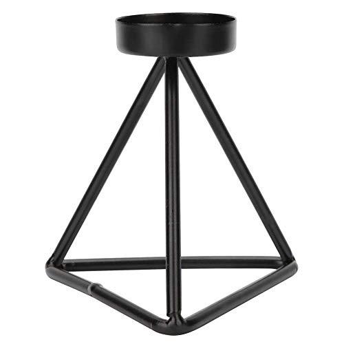 Ijzer eenvoudige kandelaar, enkele kop innovatieve zwarte kandelaar ijzeren kandelaar voor thuis bruiloft tafeldecoratie (lagere hoogte)