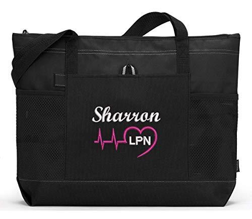 CNA Personalized Tote bag .. Nurse Personalized Nurse Heartbeat Tote Bag Personalized RN Great Nursing Gift Idea !! LPN