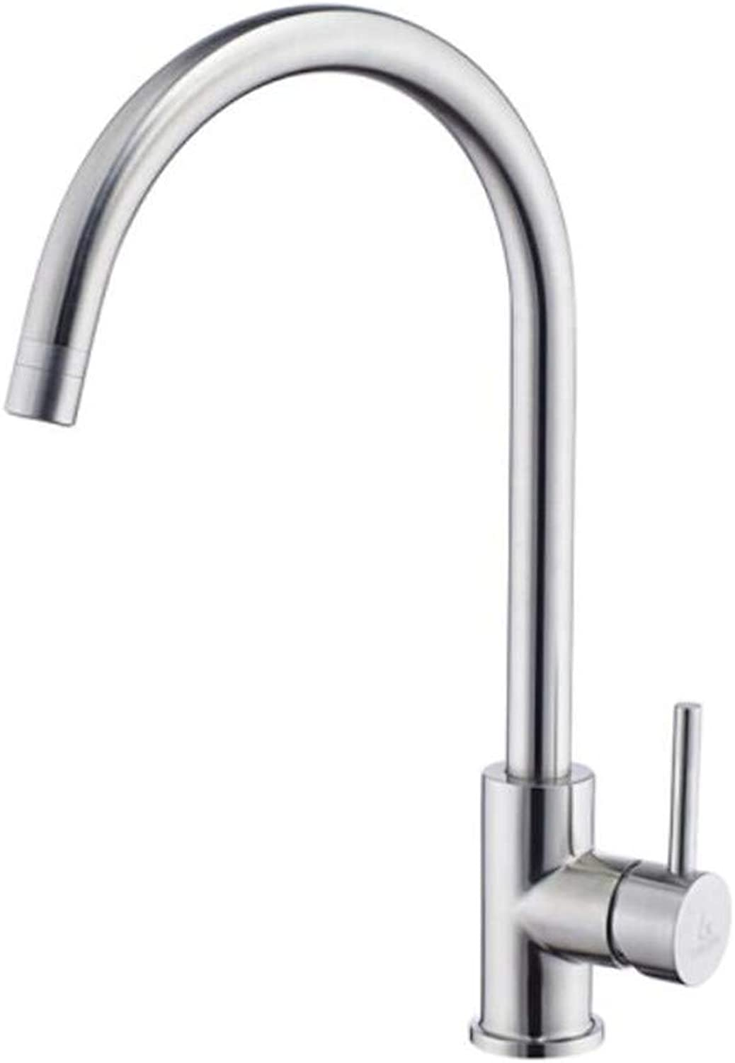 Taps Mixer?Swivel?Faucet Sink Kitchen Faucet Cold and Hot 304 Stainless Steel Dishwash Basin Sink Single Cold redating Lead-Free Faucet