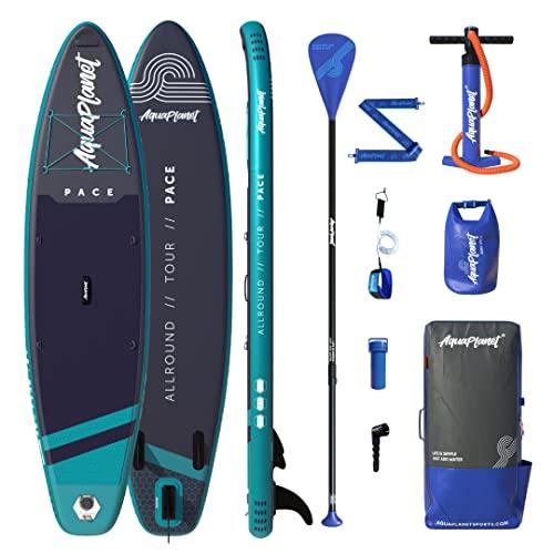 AQUAPLANET PACE SUP Kit completo para SUP (tabla de 3,2 x 76 cm x 15 cm). con bomba de aire, pala, mochila, correa para la pierna, bolsa de surf impermeable, correa para el hombro y más