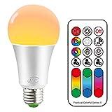 Bombilla de luz LED que cambia de color, 120 colores, equivalente a 70 vatios, luz estroboscópica de bricolaje, blanco cálido 2700K RGB con control remoto, tornillo LED 10W A60 E27