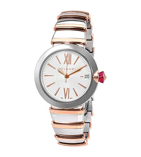 LVCEA Automatic Silver Opaline Dial 18kt Pink Gold and Steel Ladies Watch - Bvlgari 102197