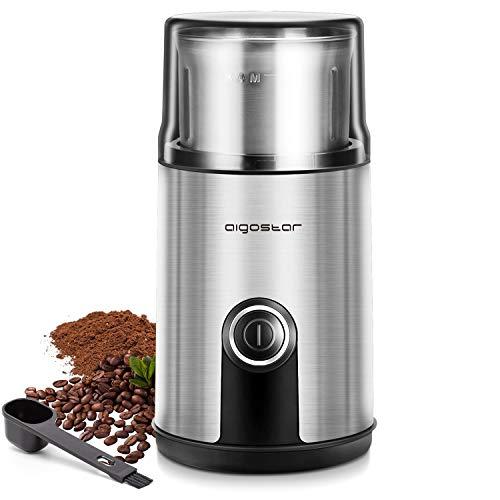 Aigostar Elektrische Kaffeemühle, 75g Abnehmbarer Edelstahlbehälter, Edelstahl Gewürz Kaffee Mühle mit Schlagmesser, 200W Schlagmahlwerk für Kaffeebohnen Nüsse Gewürze