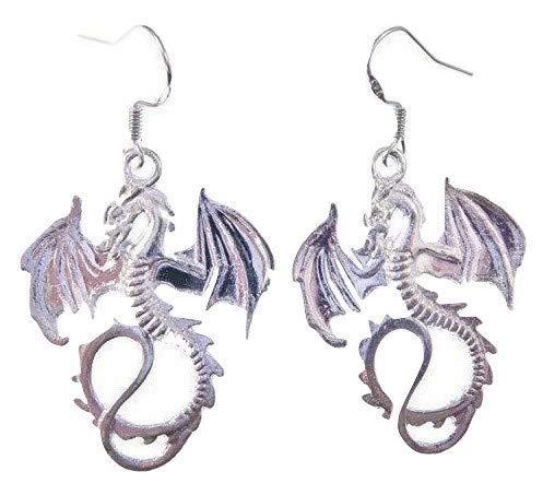 Orecchini a forma di drago in argento tibetano con ali e ganci in argento Sterling in sacchetto regalo in organza